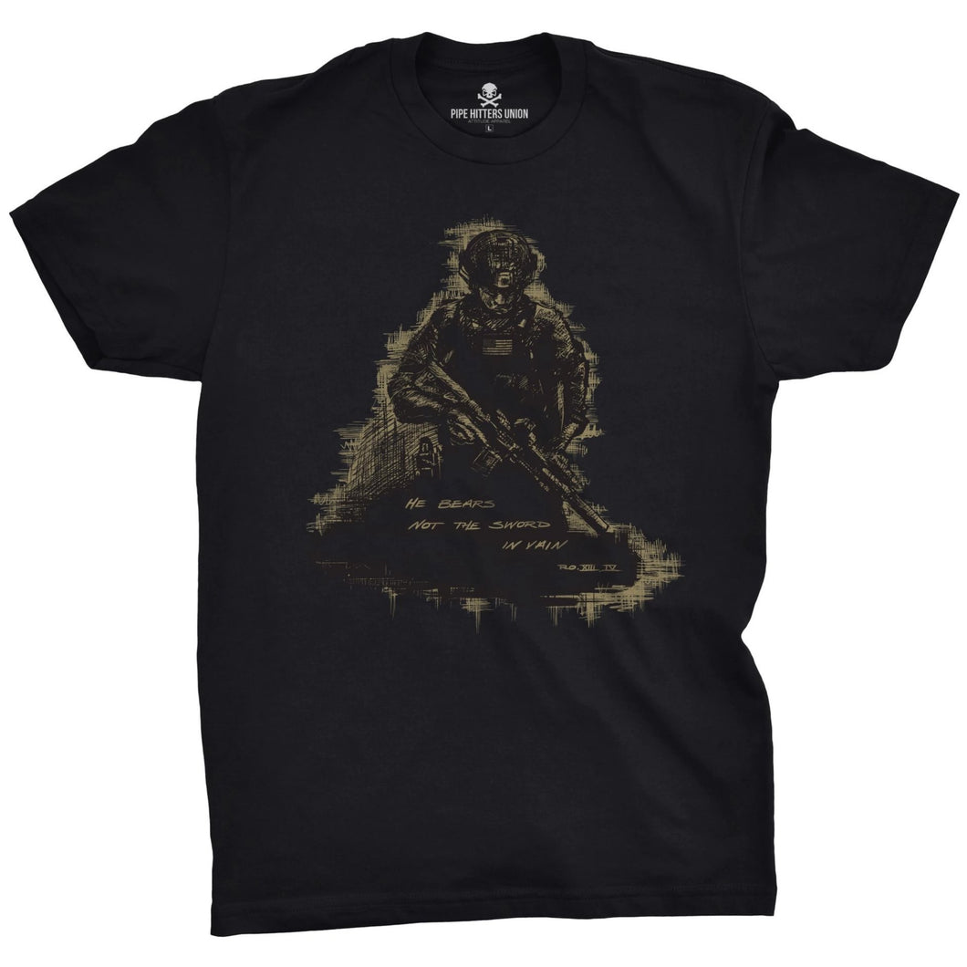 Black; Pipe Hitters Union Romans 13:4 Tee - HCC Tactical