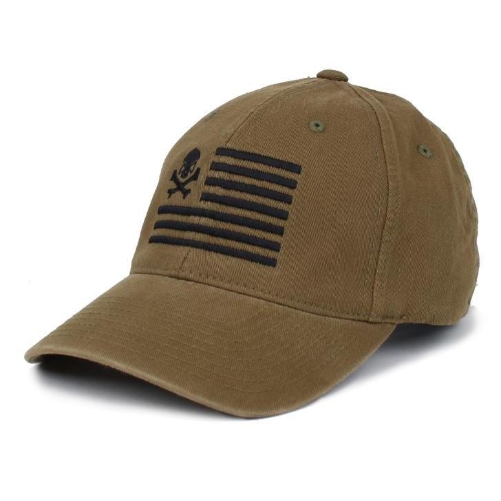 Olive; Pipe Hitters Union Skull American Flag Flexfit Hat - HCC Tactical