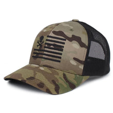 Green MultiCam; Pipe Hitters Union Skull American Flag Trucker Hat - HCC Tactical