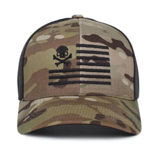 alt - Green MultiCam; Pipe Hitters Union Skull American Flag Trucker Hat - HCC Tactical
