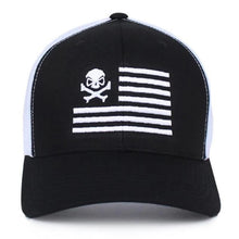 alt - Black / White; Pipe Hitters Union Skull American Flag Trucker Hat - HCC Tactical