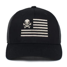 alt - Black / Pewter; Pipe Hitters Union Skull American Flag Trucker Hat - HCC Tactical