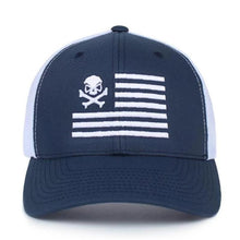 alt - Navy Blue / White; Pipe Hitters Union Skull American Flag Trucker Hat - HCC Tactical