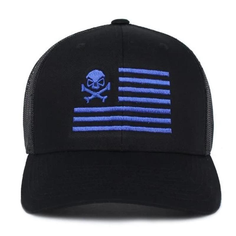 alt - Black / Blue; Pipe Hitters Union Skull American Flag Trucker Hat - HCC Tactical