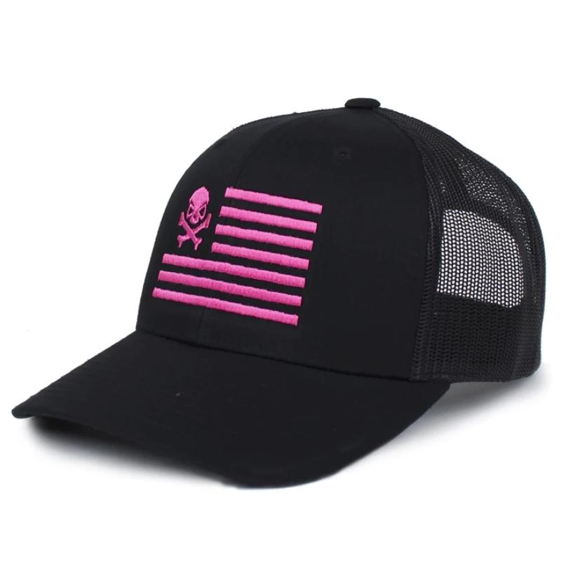 Black / Pink; Pipe Hitters Union Skull American Flag Trucker Hat - HCC Tactical