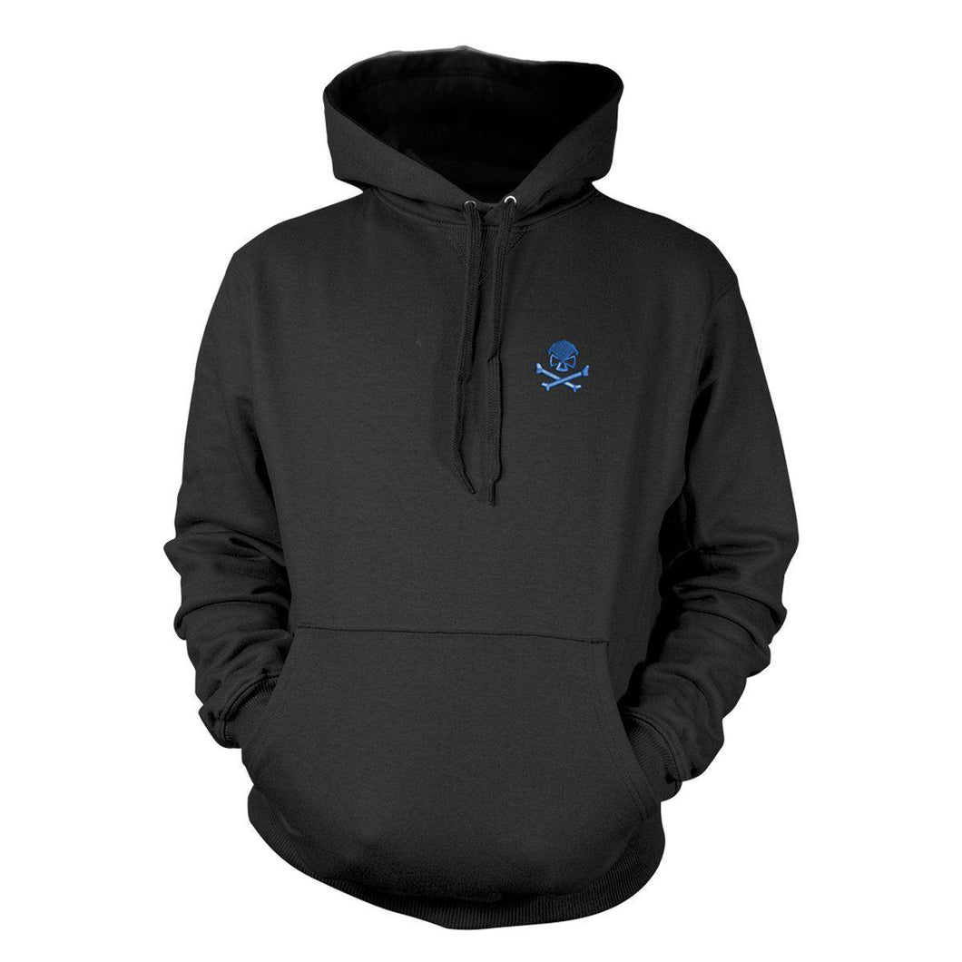 Black / Blue; Pipe Hitters Union Skull and Bones (Embroided) Hoodie - HCC Tactical