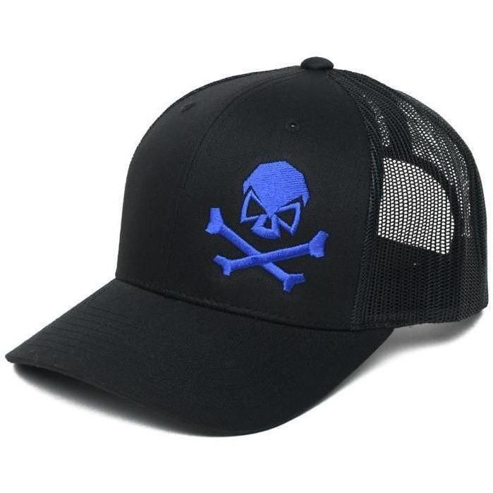 Black / Blue; Pipe Hitters Union Skull and Bones Trucker Hat - HCC Tactical