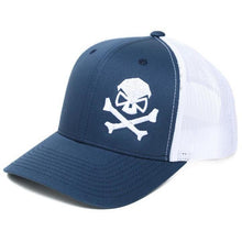 Navy Blue / White; Pipe Hitters Union Skull and Bones Trucker Hat - HCC Tactical