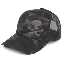 Black MultiCam; Pipe Hitters Union Skull and Bones Trucker Hat - HCC Tactical