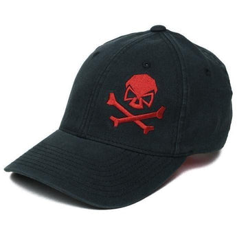 Black / Red; Pipe Hitters Union Skull & Bones Flexfit Hat - HCC Tactical