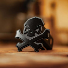 Black; Pipe Hitters Union Skull & Bones Trailer Hitch Cover - HCC Tactical