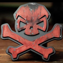 alt - Red; Pipe Hitters Union Skull & Bones Trailer Hitch Cover - HCC Tactical