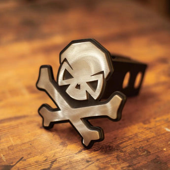 alt - Stainless; Pipe Hitters Union Skull & Bones Trailer Hitch Cover - HCC Tactical