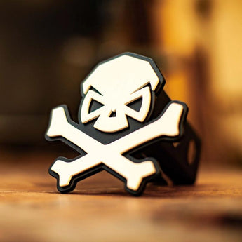 White; Pipe Hitters Union Skull & Bones Trailer Hitch Cover - HCC Tactical