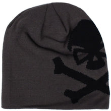 Grey / Black; Pipe Hitters Union Skull & Bones Woven Beanie - HCC Tactical