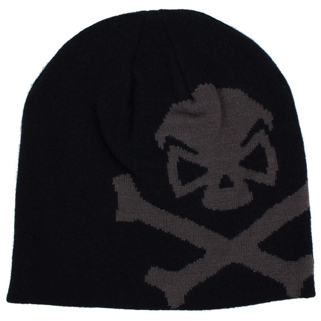 Black / Grey; Pipe Hitters Union Skull & Bones Woven Beanie - HCC Tactical