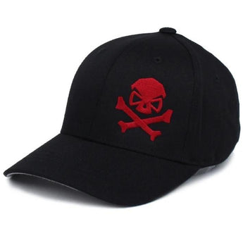 Black/Red; PHU Skull & Cross Bones Hat - Youth - HCC Tactical