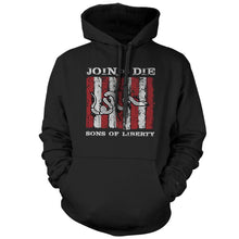 Black; Pipe Hitters Union Sons of Liberty - Join or Die - Hoodie - HCC Tactical
