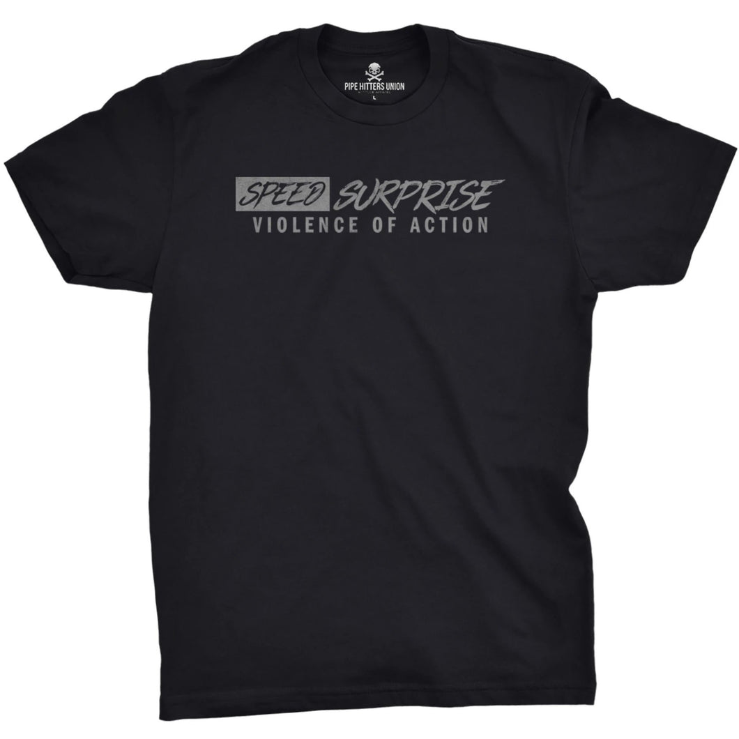 Black / Gray; Pipe Hitters Union Speed Surprise and Violence of Action Tee - HCC Tactical