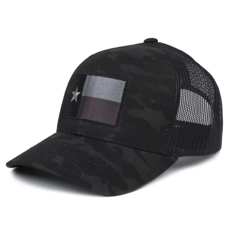 Black MultiCam; Pipe Hitters Union Texas Flag Trucker (Subdued) Hat - HCC Tactical