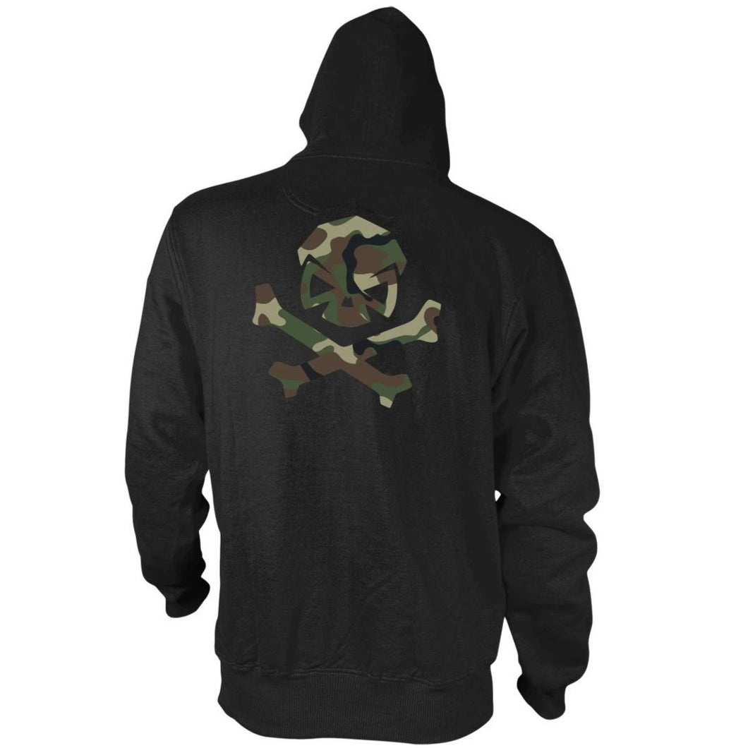 alt - Black; Pipe Hitters Union Woodland Camo Logo Hoodie - HCC Tactical