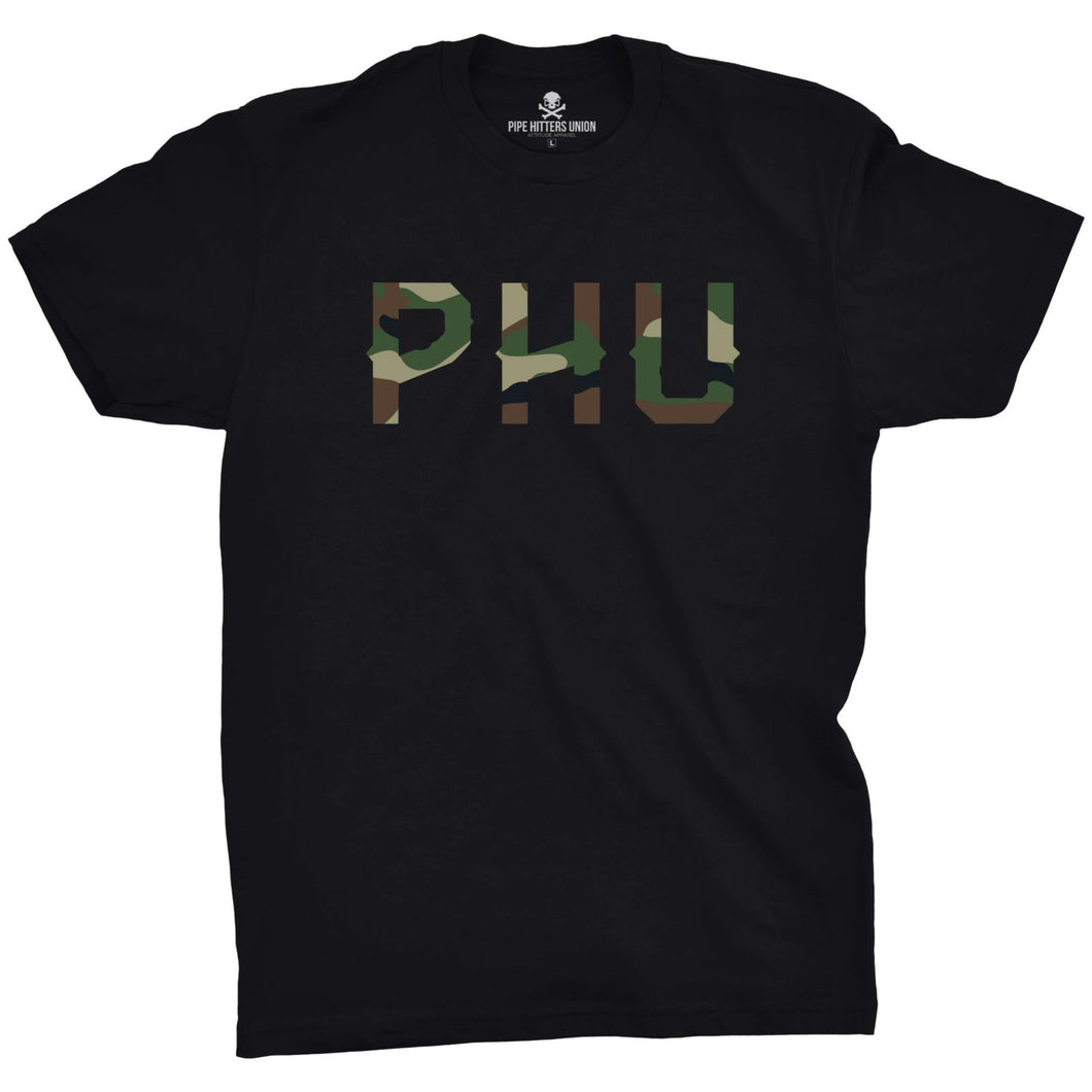 Black; Pipe Hitters Union Woodland Camo Logo Tee - HCC Tactical