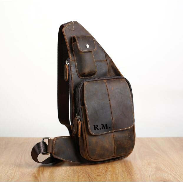 First Layer Leather Chest Bag, Leather Men's Chest Bag,Shoulder Bag GZ040