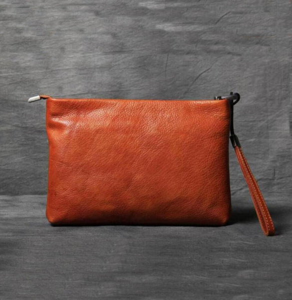 Pergamon Clutch, Evening Bag, Tanned Leather Hand Stitched Envelope Bag,Womens Wallet OAK-007 - Leajanebag