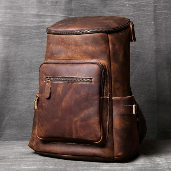 Crazy Horse Leather Backpack, School Backpack, Leather Travel Backpack OAK-008 - Leajanebag