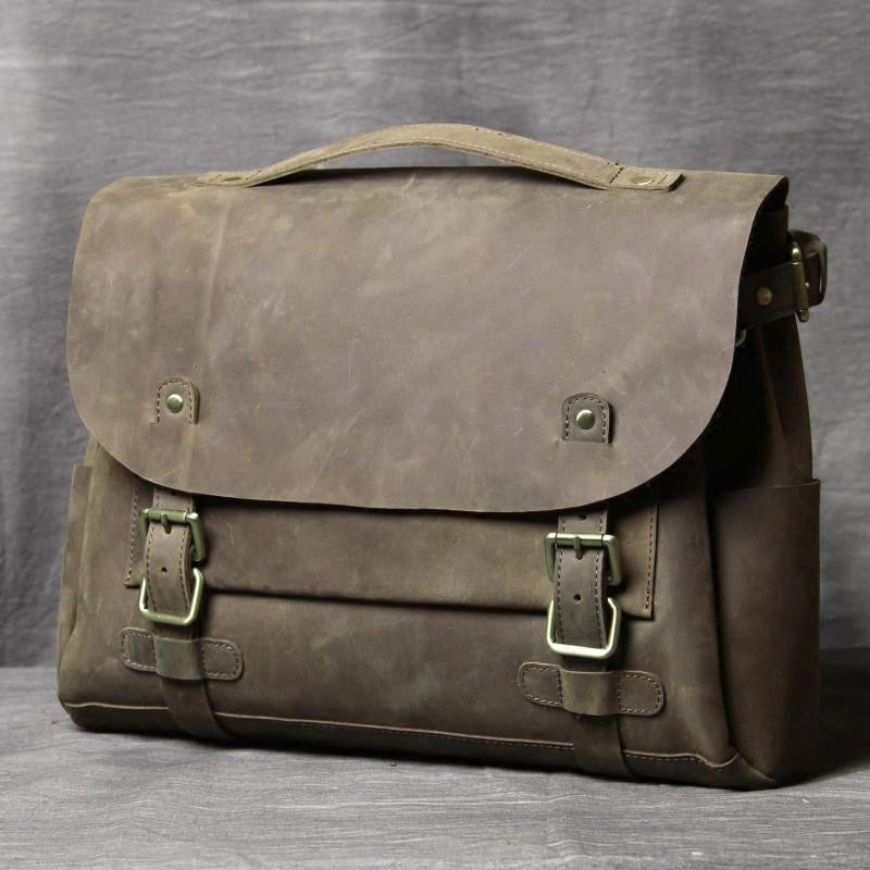 Leather Messenger Bag, Leather Briefcase, Leather Shoulder Bag, Macbook Pro OAK-021 - Leajanebag