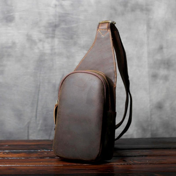 Men Business Genuine Leather, Chest Bag, Crossbody Bag, Men's Corset Shoulder Bags Chest Bag OAK-052 - Leajanebag