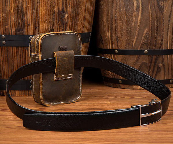 Brown Leather Waist Bag, Money Belt Hip Bag, Belt Bag Fanny Pack, Genuine Suede Bum Bag MS005 - Leajanebag