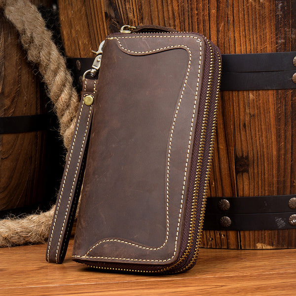 Handmade Leather Wallet, Long Wallet for Birthdat, Leather Travel Wallet, Womans Gifts MS019 - Leajanebag