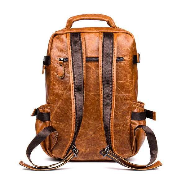 Extra Larger Leather Backpack, Travel backpack, Laptop Backpack, Vintage Weekend Backpack 5103 - Leajanebag