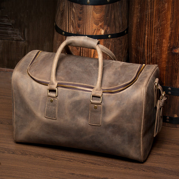 Handmade Leather Duffle Bag, Leather Travel Bag,Crossbody Shoulder Bag MS032 - Leajanebag