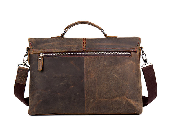 Leather Messenger Bag, Leather Briefcase, Laptop Business Bag, Genuine Brown Leather Bag MS039 - Leajanebag
