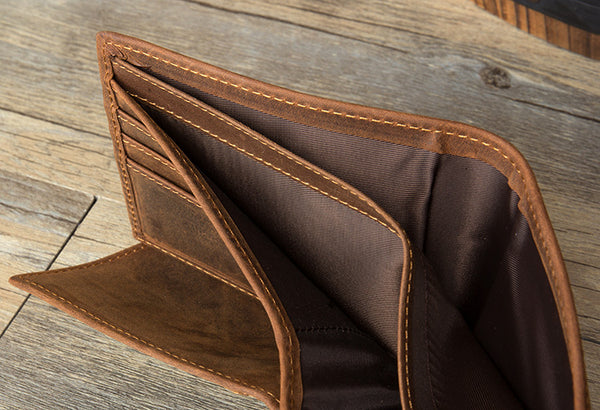 Leather Wallet,  Short Wallet, Handmade  Genuine Leather wallet MS059 - Leajanebag