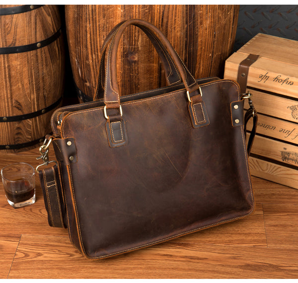 Men's Distressed Full Grain Leather Messenger Bag, Leather Bag, Cross Body Bag, Briefcase MS203 - Leajanebag