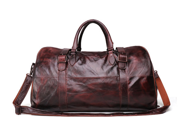 Personalized Leather Duffle Bag, Leather Weekend Bag, Overnight Bag, Gym Bag, Handmade Bag QY024 - Leajanebag