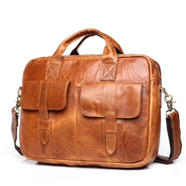 Business Leather Bag, Slim Leather Briefcase, 14 inch Laptop Bag, Slim Leather Messenger, Laptop Bag, For Him GS006 - Leajanebag