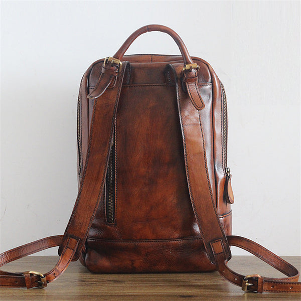 Hand Crafted LEATHER BACKPACK in Brown Color,Citi Rucksack with Zipper Lining Made of Full Grain Leather GS011 - Leajanebag