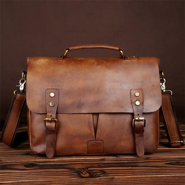 ALMOST PERFECT Men's Leather Bag Briefcase, Gift for Him Full Grain Macbook Bag Laptop Bag Leather CLEARANCE GS012