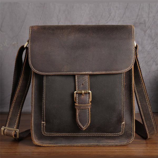 Men's Distressed Full Grain Leather Messenger Bag, Leather Bag, Cross Body Bag, Briefcase GS013