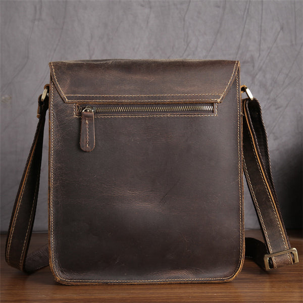 Men's Distressed Full Grain Leather Messenger Bag, Leather Bag, Cross Body Bag, Briefcase GS013 - Leajanebag