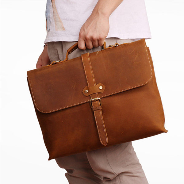 Mens leather briefcase, Personalized leather bag, Laptop portfolio, Leather Attache, Brown business bag  GS016 - Leajanebag