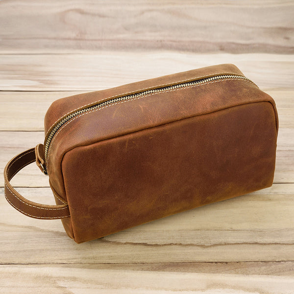 Personalized leather dopp kit, mens leather toiletry bag, mens dopp kit, groomsmen gift mens toiletry bag with a name stamp - Leajanebag