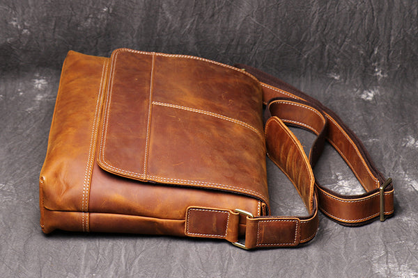 Men's Distressed Full Grain Leather Messenger Bag, Messenger Bag, Cross Body Bag, Briefcase  FY001 - Leajanebag