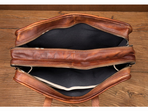 Xmas Gift, First Layer Leather Bag, Men's Leather Briefcase, Gift for Him, Business Bag,Handmade Bag MS213 - Leajanebag