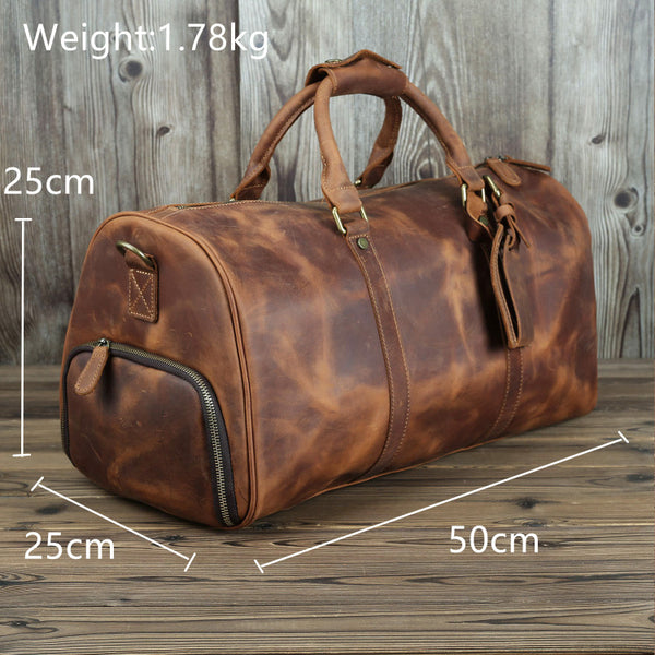 Xmas Gift, Leather Duffle Bag with Shoe Compartment,Personalized Leather Travel Weekend Bag, Duffle Bag QT003 - Leajanebag