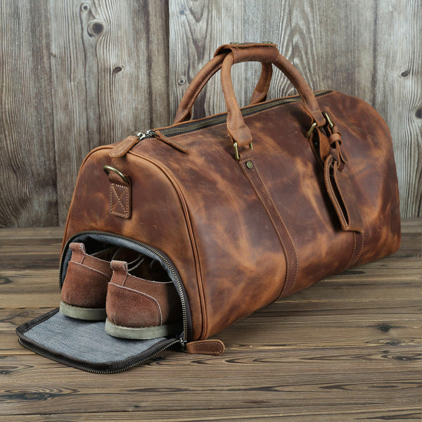 Xmas Gift, Leather Duffle Bag with Shoe Compartment,Personalized Leather Travel Weekend Bag, Duffle Bag QT003